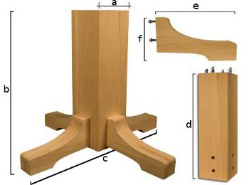 Kockasti centralni stub za sto od drveta